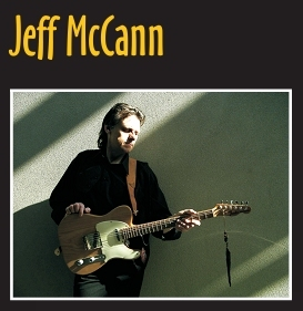 Jeff McCann - name logo & photo with vintage Telecaster.